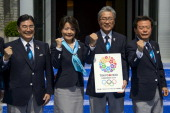 Members of the delegation of Tokyo 2020 candidate city Tokyo 2020 chief executive Masato Mizuno Yukiko Arai Japan Olympic Committee President...