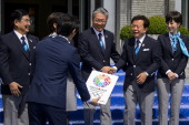 Members of the delegation of Tokyo 2020 candidate city Tokyo 2020 chief executive Masato Mizuno Japan Olympic Committee President Tsunekazu Takeda...