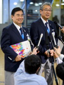 Members of the delegation of Tokyo 2020 Candidate City Tokyo 2020 chief executive Masato Mizuno and Japan Olympic Committee President Tsunekazu...