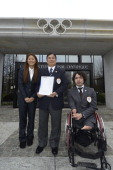 Members of the delegation of Tokyo bid Fourtime Olympian and 2011 FIFA Ballon d'Or winner Homare Sawa Tokyo 2020 CEO Masato Mizuno and Paralympic...