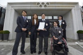 Members of the delegation of Tokyo bid Yasuhiro Nakamori director of Japanese Olympic Committie fourtime Olympian and 2011 FIFA Ballon d'Or winner...