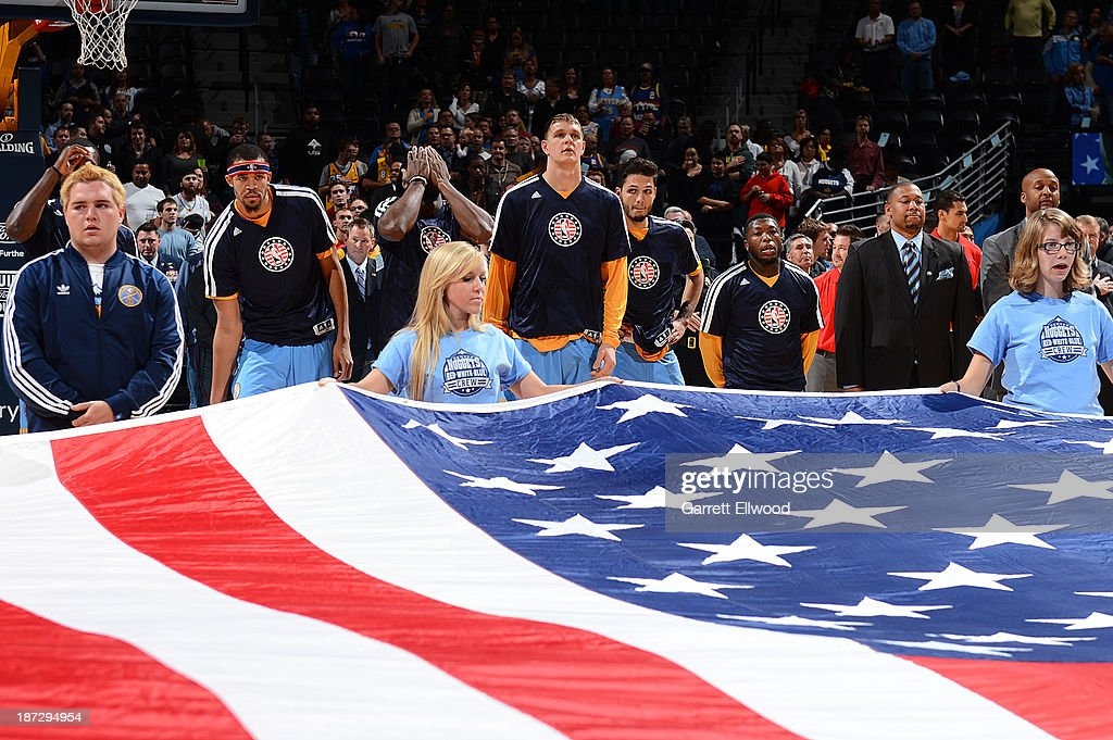 Members of the Denver Nuggets get ready for the game against the Atlanta Hawks on November 7, 2013 at the Pepsi Center in Denver, Colorado.