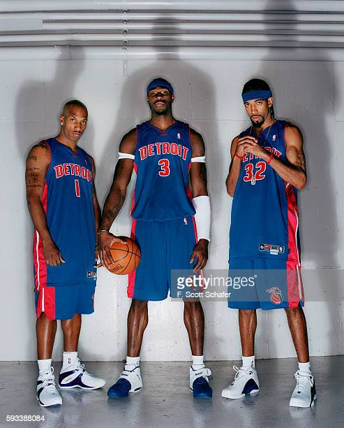 Point guard Chauncey Billups center Ben Wallace and guard Richard Hamilton of the Detroit Pistons