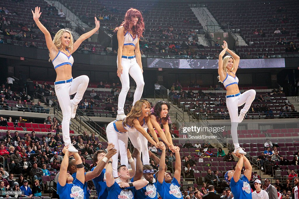 Members of the Detroit Pistons Cheer Team perform during a game against the Atlanta Hawks on February 25, 2013 at The Palace of Auburn Hills in Auburn Hills, Michigan.