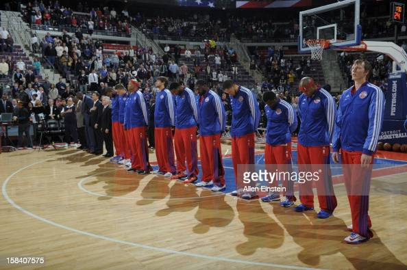 Members of the Detroit Pistons lineup while listening to the Star Spangle Banner prior to the Indiana Pacers game on December 15 2012 at The Palace...