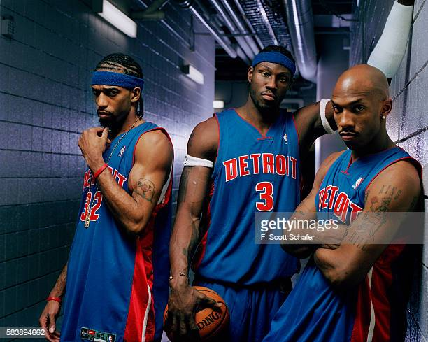 Guard Richard Hamilton center Ben Wallace and point guard Chauncey Billups of the Detroit Pistons