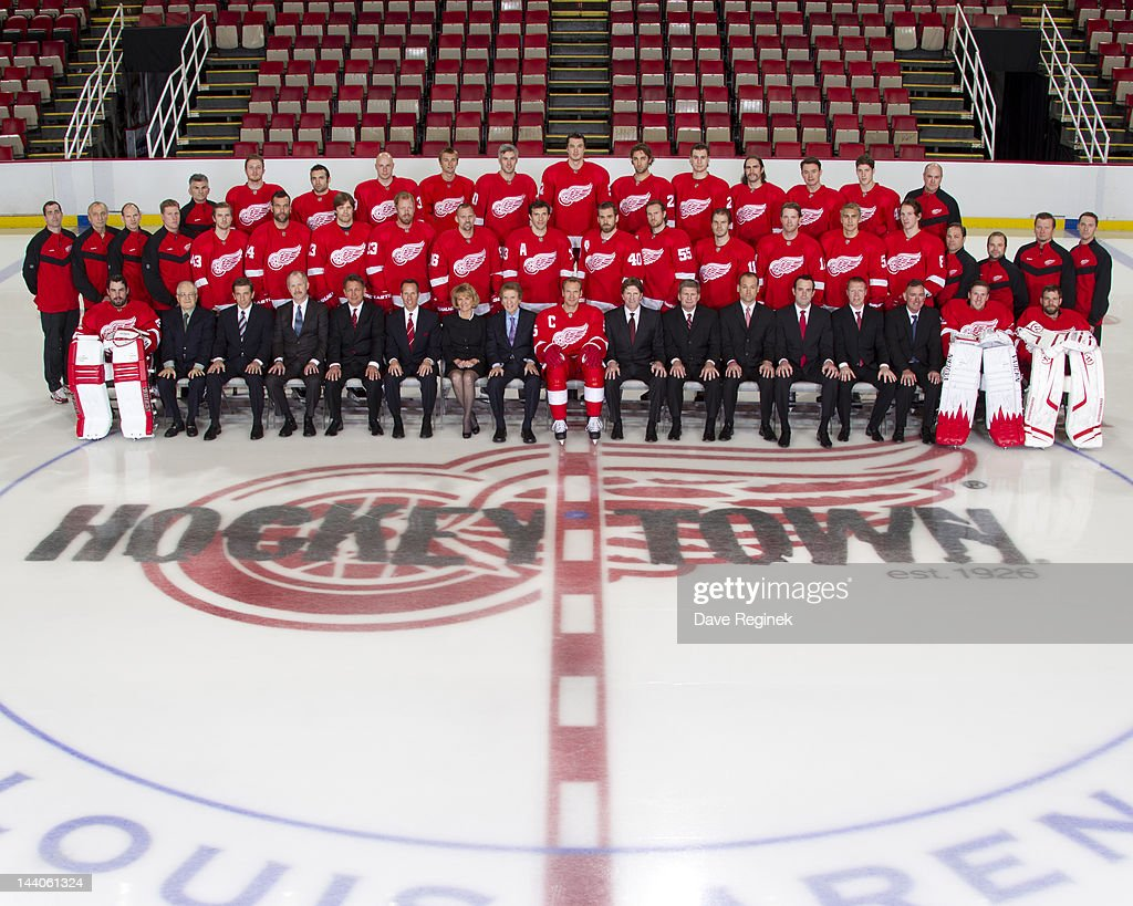 Members of the Detroit Red Wings pose for the official 2011-2012 team photograph at at Joe Louis Arena on April 24, 2012 in Detroit, Michigan.