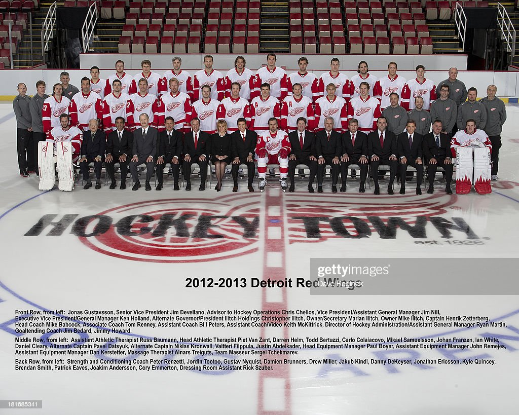 Members of the Detroit Red Wings pose for the official team picture on May 31, 2013 at Joe Louis Arena in Detroit, Michigan.