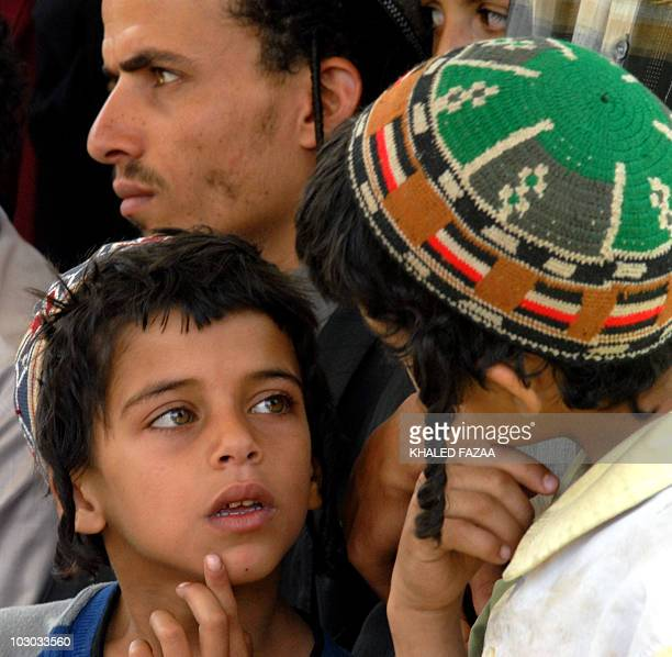 Members of the displaced Yemeni Jewish Marhabi are pictured at their temporary residence in the tourist city hotel compound in Sanaa on June 23 2008...