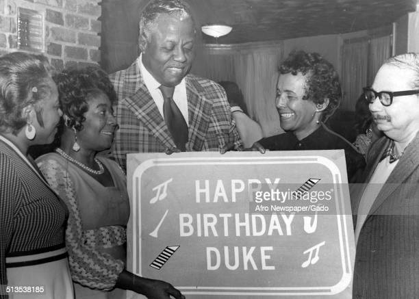 Members of the Duke Ellington Society during a birthday celebration 1970