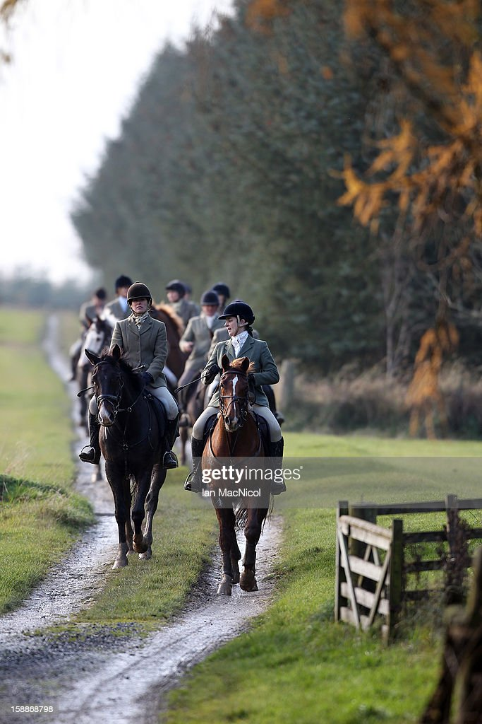 Members of The Duke of Buccleugh's Fox hunt take part in a fox hunt on November 09, 2011 in St Boswells, Scotland.