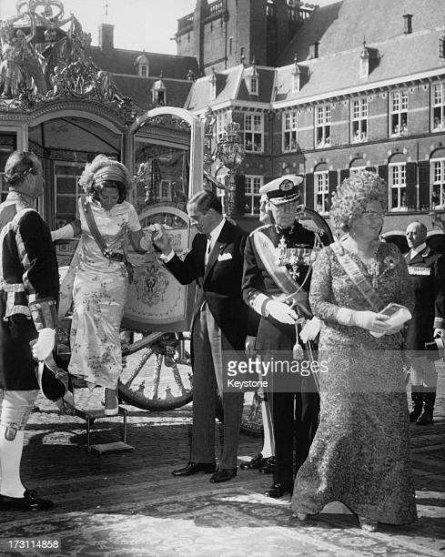 Members of the Dutch royal family arriving for the State Opening of Parliament in The Hague Netherlands 20th September 1966 Left to right Princess...