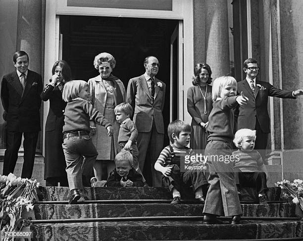 Members of the Dutch royal family on the steps of the Soestdijk Palace during celebrations for the birthday of Queen Juliana of the Netherlands...