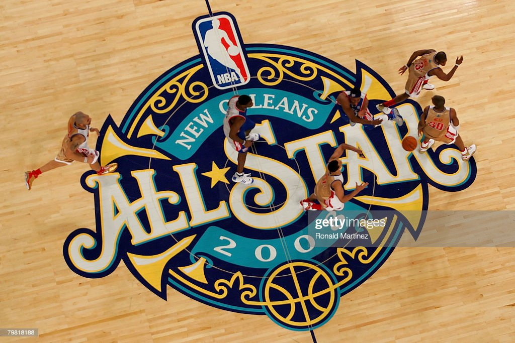 Members of the Eastern Conference and the Western Conference All-Star teams run across mid-court during the 57th NBA All-Star Game, part of 2008 NBA All-Star Weekend at the New Orleans Arena on February 17, 2008 in New Orleans, Louisiana.