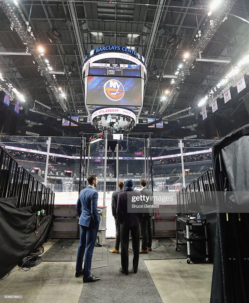 Members of the Edmonton Oilers get their first look at the New York Islanders new arena, the Barclays Center, on February 7, 2016 in Brooklyn borough of New York City.