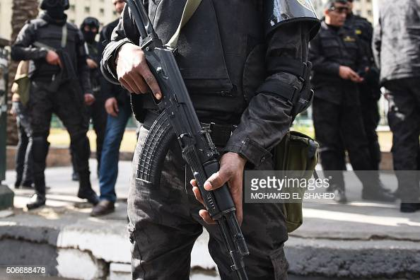 Members of the Egyptian police special forces stand guard on Cairo's landmark Tahrir Square on January 25 as the country marks the fifth anniversary...