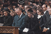 Members of the Eisenhower family including Barbara Eisenhower John Eisenhower in centre and Mamie Eisenhower on right attend the funeral service for...