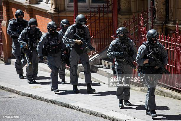 Members of the emergency services take part in Exercise Strong Tower outside the disused Aldywch tube station on Surrey Street on June 30 2015 in...