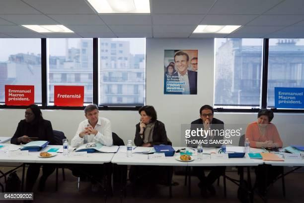 Members of the En Marche movement Laetitia Avia departmental referent Jean Marc Borello national delegate Christine de Veyrac member of En Marche and...