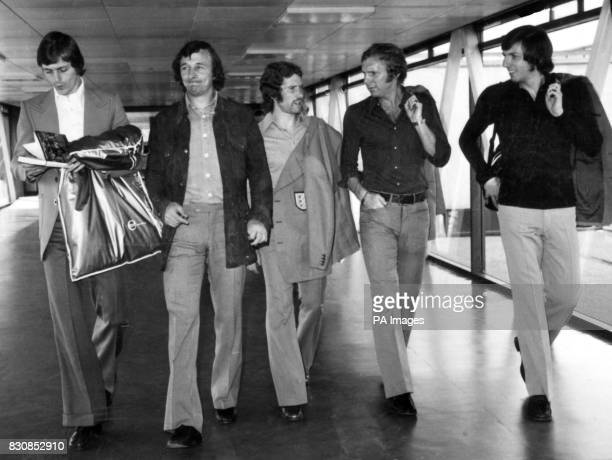 Members of the England football squad Allan Clarke Mike Summerbee Alan Ball Bobby Moore and Martin Peters leaving Heathrow for Poland where they will...