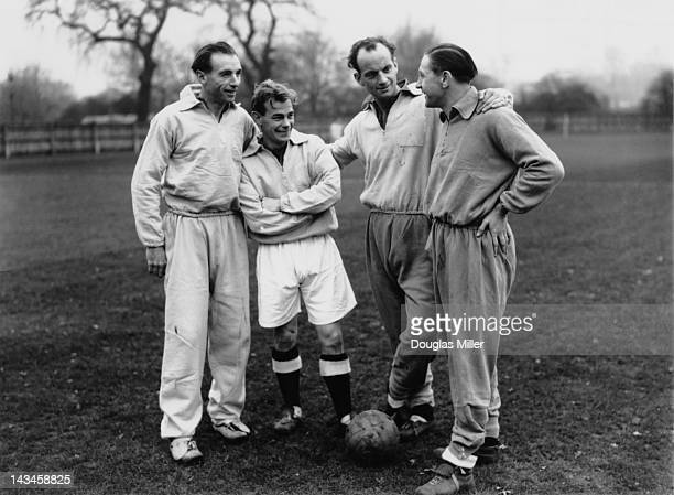 Members of the England football team chat during a training session at Roehampton London the day before a match against Hungary 24th November 1953...