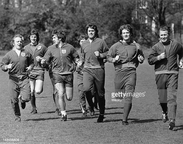 Members of the England football team during a training session at Roehampton London 8th April 1972 They are preparing for a European Nations Cup...