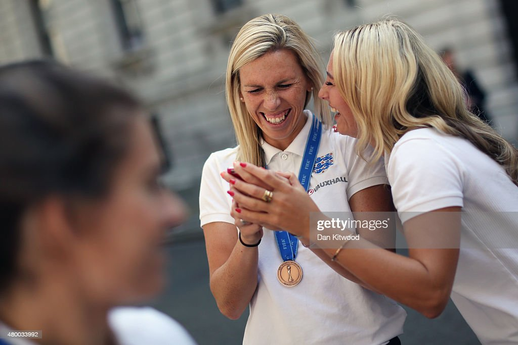 Members of the England Women's Football team take pictures outside 10 Downing Street on July 9, 2015 in London, England. The team met the British Prime Minister David Cameron, and earlier met HRH Prince William after returning home from their Wrold Cup campaign where they came third.