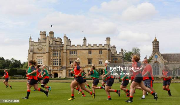 Members of The England Womens Rugby World Cup squad take part in a training session at Farleigh House on July 7 2017 in Bath England