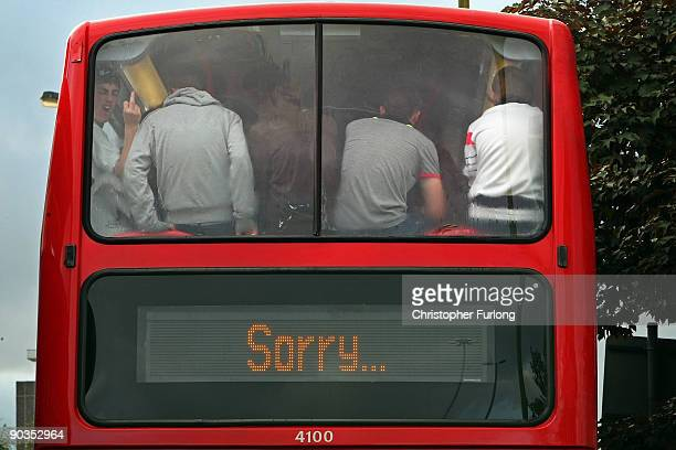 Members of the English Defence League are bussed away from the city center by police after clashes with antiright wing protesters during a rally on...