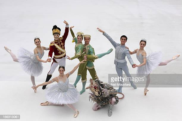 Members of the English National Ballet rehearse ahead of their performances of 'The Nutcracker' at The Natural History Museum Ice Rink on November 13...
