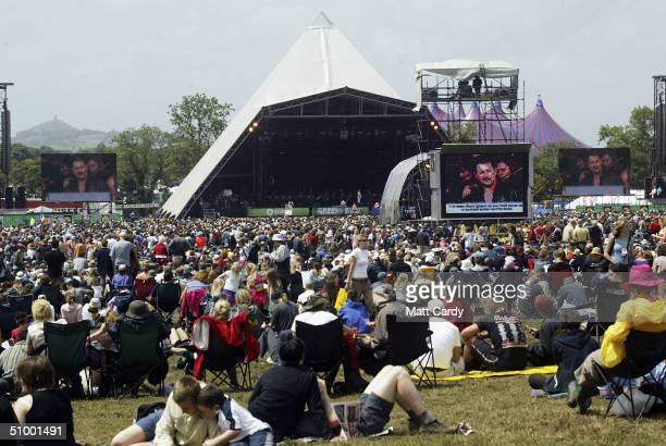 Members of the English National Opera perform Wagner's Ride of the Valkyrie on the Pyramid Stage during the third and final day of the Glastonbury...