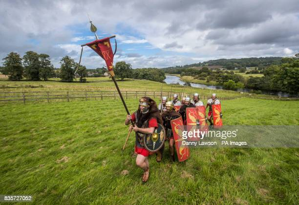 Members of the Ermine Street Guard a Roman reenactment society form part of a living history encampment at Chesters Roman Fort at Hadrian's Wall in...