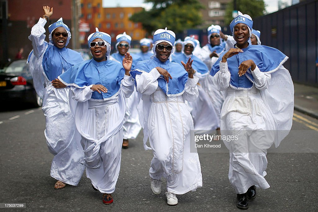 Members of the Eternal Sacred Order of the Cherubim and Seraphim Church choir march through Walworth as part of their annual Thanksgiving service on July 28, 2013 in London, England. The 28th annual adoption Thanksgiving service held at a church in the Elephant And Castle area saw attendees from across the world including Nigeria, USA and Germany. The service was attended by the leader of the Church, His Most Eminence Baba Aladura. The indigenous African initiated Christian church was founded in Nigeria in 1925 and has an estimated 5 million members that worship in around 1,500 houses of prayer worldwide.