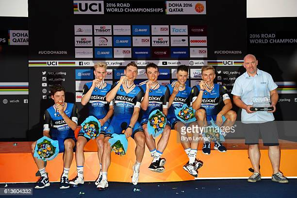 Members of the Etixx Quick Step team Bob Jungels of Luxembourg Marcel Kittel of Germany Yves Lampaert of Belgium Tony Martin of Germany Niki Terpstra...