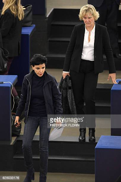 Members of the European Parliament and French rightwing party Les Republicains Rachida Dati and Nadine Morano arrive to take part in a voting session...