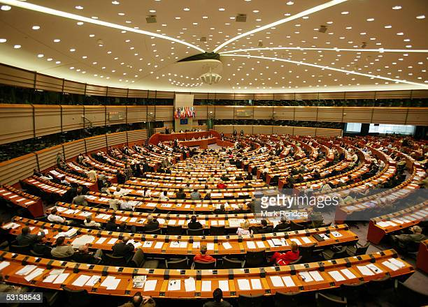 Members of the European Parliament attend a session attended by British Prime Minister Tony Blair on June 23 2005 in Brussels Belgium Blair warned...