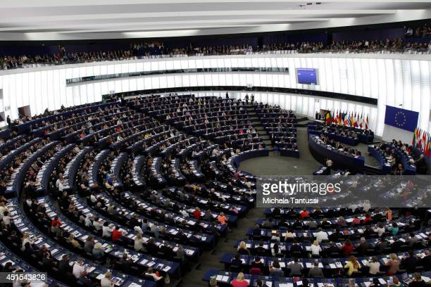 Members of the European Parliament sit in the plenary room before elections of the new president on July 1 2014 in Strasbourg France The German...