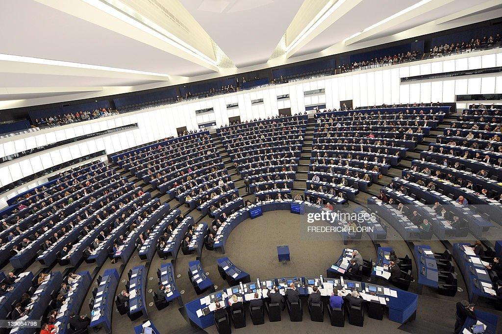 Members of the European Parliament take part in a voting session at the European Parliament in Strasbourg, eastern France, on February 16, 2012.