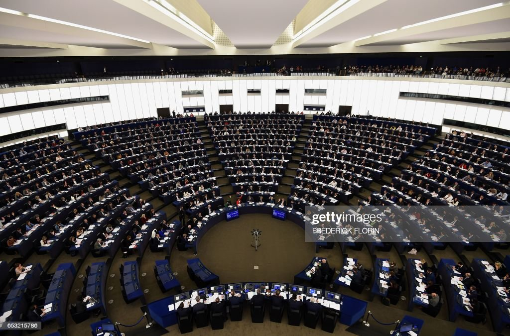 Members of the European Parliament take part in a voting session at the European Parliament in Strasbourg, eastern France, on March 14, 2017. /