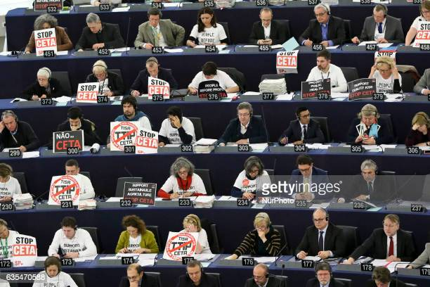 Members of the European Parliament take part in a voting session on the EUCanada Comprehensive Economic and Trade Agreement at the European...