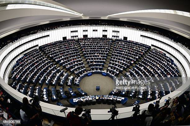 Members of the European Parliament vote during the last plenary session before May 25 elections on April 15 2014 at the European Parliament in...