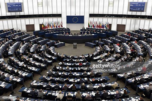Members of the European Parliament vote in the European Parliament in Strasbourg eastern France on December 12 on procedures to take after Ukraine...