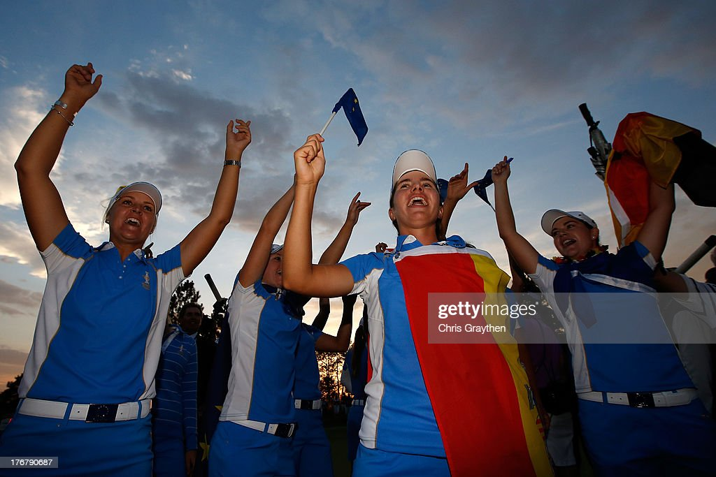 Members of the European Team celebrate after defeating the United States 18-10 in the 2013 Solheim Cup on August 18, 2013 at The Colorado Golf Club in Parker, Colorado.