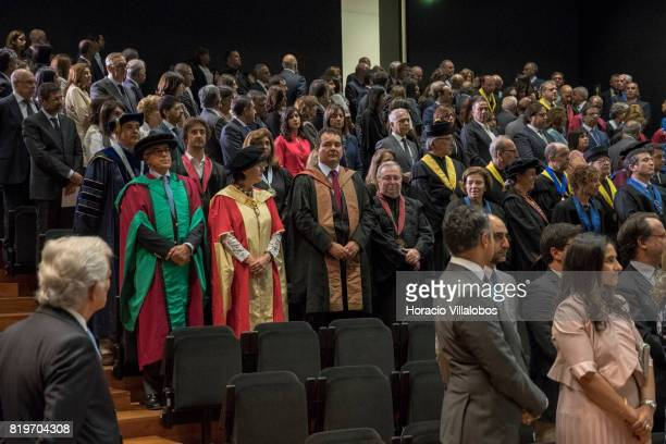 Members of the faculty of NOVA University of Lisbon and guests attend the ceremony in which His Highness Shah Karim alHussaini Prince Aga Khan was...