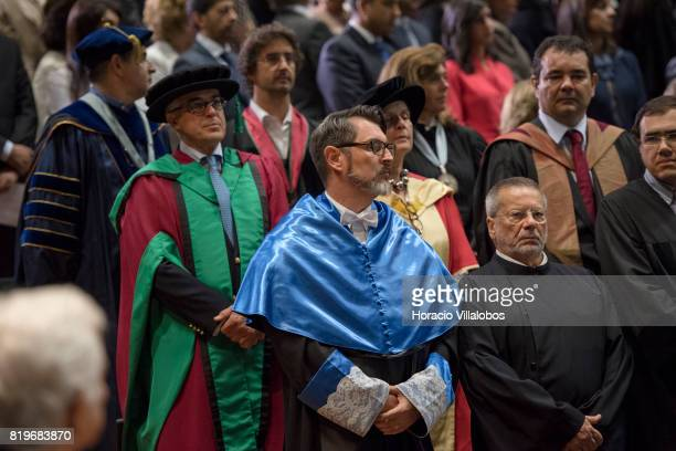 Members of the faculty of NOVA University of Lisbon attend the ceremony in which His Highness Shah Karim alHussaini Prince Aga Khan was awarded with...