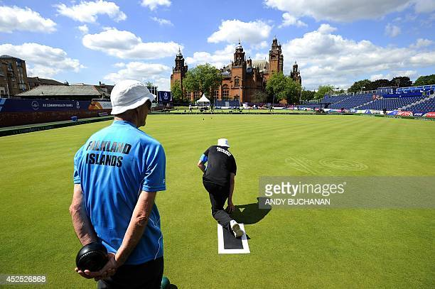 Members of the Falkland Islands Lawn Bowls team participate in a practice session at the Lawn Bowls arena in Kelvingrove Park Glasgow on July 22...