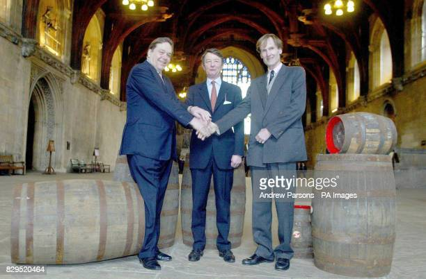 Members of the familes descended from some of the adverserys from the time of the plot are present for a ceremonial handshake in the Westminster Hall...