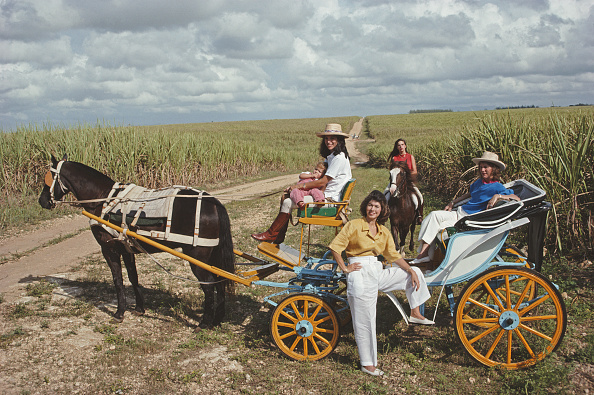 Members of the Fanjul family out for a ride on a horse and carriage Casa de Campo Dominican Republic January 1990