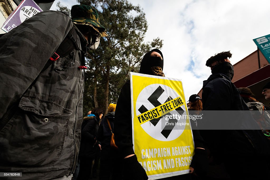 Members of the far-left ANTIFA protest on May 28, 2016 in Melbourne, Australia. Violence erupted when participants in a 'Say No To Racism' rally protesting the forced closure of Aboriginal communities, off-shore detention centres and Islamophobia met with a counter 'Anti-Islam' rally organised by the True Blue Crew and backed by the United Patriots Front.