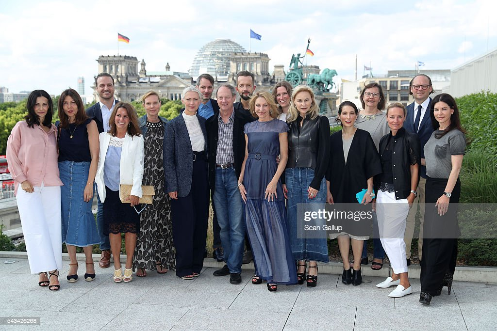 Members of the Fashion Council Germany, Ambassador John Emerson and Kimberly Marteau Emerson, Natascha von Laffert, Michelle Logsdon, Viona Evans, Karen Roth and Tina Lutz at the Sustainability & Style event at the Embassy of The United States of America on June 28, 2016 in Berlin, Germany.